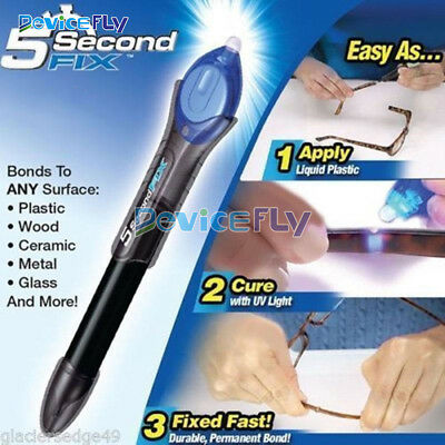 Fix UV Light Repair Pen Tool Quick 5 Second Glue Refill Liquid Plastic Welding