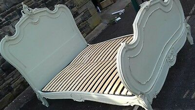 BEAUTIFUL ANTIQUE PAINTED double BED WITH SLATS FOUND IN NOGENT SUR MARNE PARIS