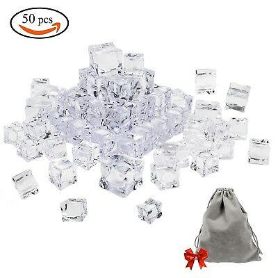 Whonline 50PCS Clear Fake Acrylic Ice Cubes Square Shape for Photography Prop...
