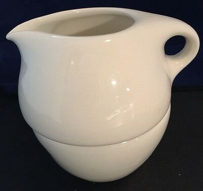 Russel Wright Iroquois Casual China White Covered Nesting Family Cream & Sugar