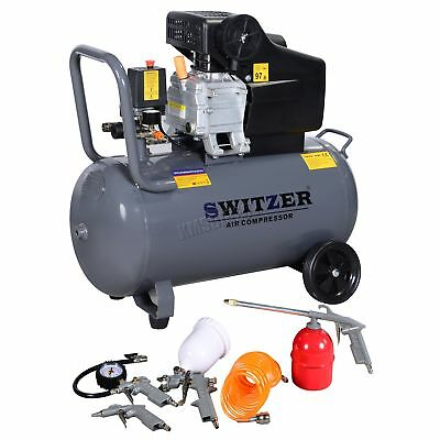 SwitZer 50ltr Air Compressor Litre 2.5HP 8 BAR 230V With Wheel 5PCS Kits AC004