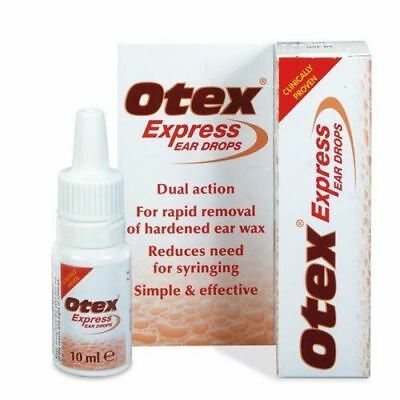 Otex Express Ear Drops For Removal Of Wax Build-up 10ml New