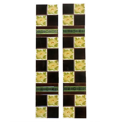 OT119 - Original 4 Square Victorian Floral Fireplace Tiles