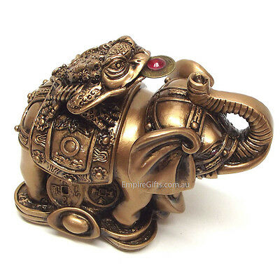 Feng Shui Money Frog on Elephant to Attract Wealth and Good Luck