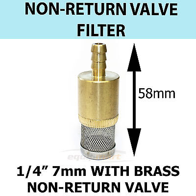 Chemical Filter 1/4 7 mm C/W Non Return Valve Pressure Washer Brass suit KARCHER