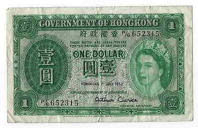 1952 Hong Kong $1 VF Note