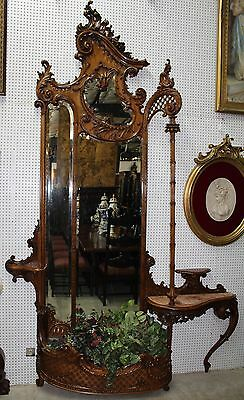"Antique French Louis XV 10 ft 8"" Tall Carved Walnut Étagère Entry Mirror C1870"