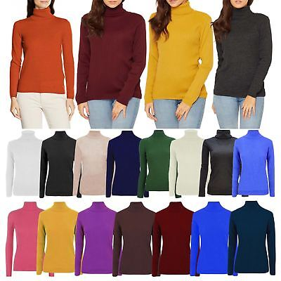 Womens Ladies Casual Long Sleeve High Polo Neck Knitted Jumper Warm Ribbed Top