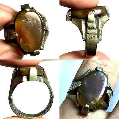 Wonderful Ancient Near Eastern Agate Bronze Ring