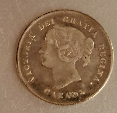 1897 Silver 5 cent Canada Canadian Queen Victoria