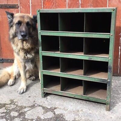 Vintage Antique Steel Racking Pigeon Hole Cabinet Industrial Bank Of Drawers No2