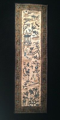 """Antique Chinese Silk Embroidery Characters Panel 21"""" Long"""