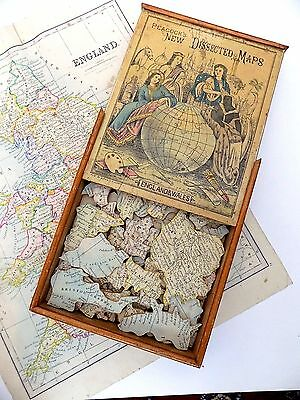 Victorian Antique Map Jigsaw Complete England Wales with Box & Guide map Puzzle