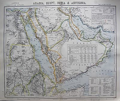 1883 Antique Map-Arabia,egypt,nubia & Abyssinia