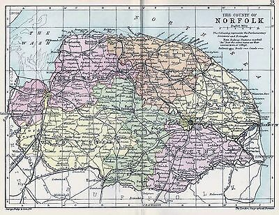 1889 Antique County Map Parliamentary Div. Norfolk