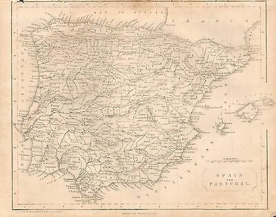 1850 Ca ANTIQUE MAP- SPAIN AND PORTUGAL