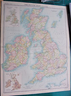 1922 Large Antique Map- British Isles-Political Map