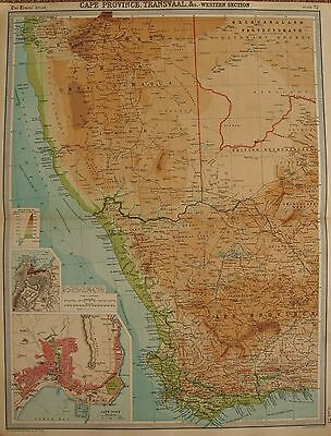 1920  LARGE  MAP : CAPE PROVINCE, TRANSVAAL &c  WESTERN SECTION