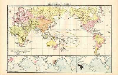 1895 Large Antique Map-Religions Of The World