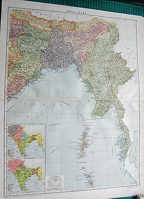 1919 Large Antique Map-India East, Burma