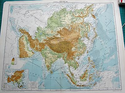 1919 Large Antique Map- Asia Physical