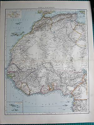 1895 Large Antique Map- Africa, North West