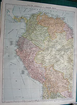 1919 Large Antique Map-South America-North West