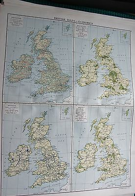 1919 Large Antique Map-British Isles-Agriculture,manufactures,waterways,minerals
