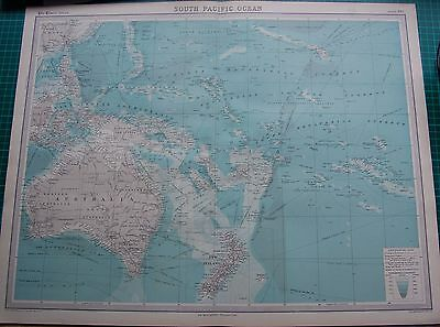 1922 Large Antique Map- South Pacific Ocean