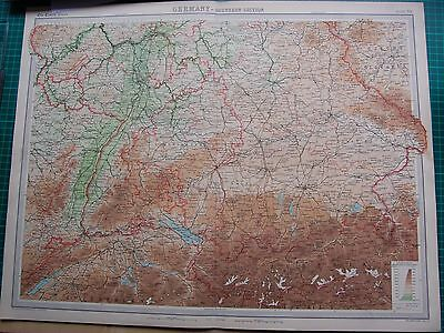 1922 Large Antique Map- Germany-Southern Section