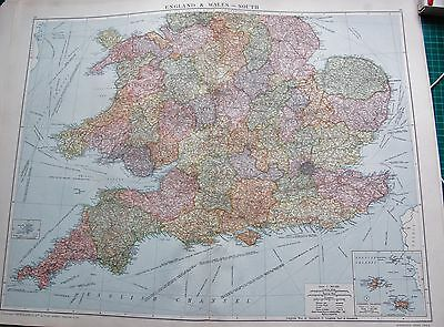 1919 Large Antique Map-England And Wales-South