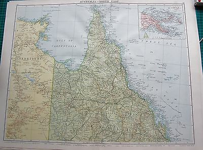 1919 Large Antique Map-Australia North East, Queensland,cape York