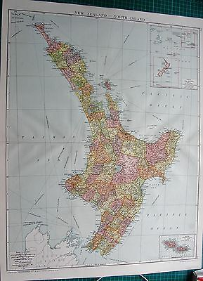 1919 Large Antique Map-New Zealand, North Island