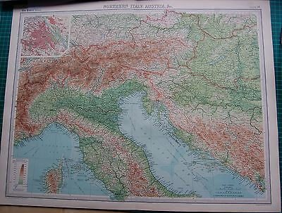 1922 Large Antique Map- Northern Italy, Austria