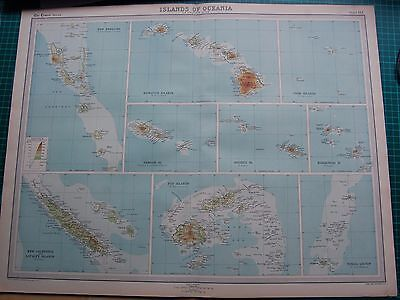 1922 Large Antique Map- Islands Of Oceania