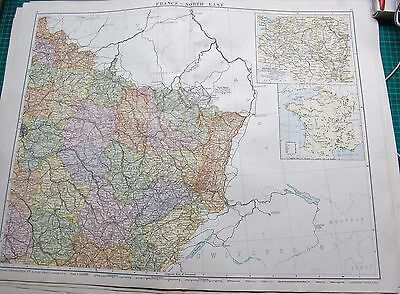 1919 Large Antique Map- France &north East, Inset Western Front1914-1918, Minera