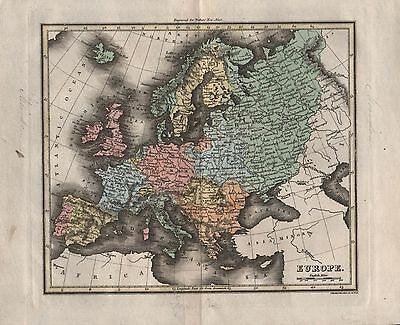 1816 Antique Map Walker Hand Coloured Europe