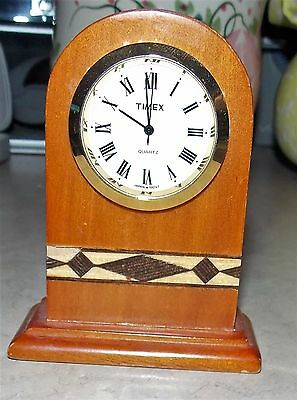 Miniature Timex Wood Inlay Mantle Clock Home Decor