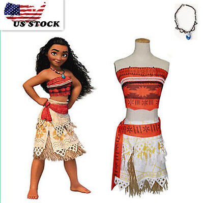 Girls Women Movie Polynesia princess Moana Cosplay Costume Dress Halloween  K98B