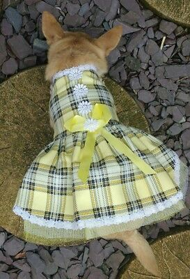 CUTE Tartan Dog Puppy Dress Peach or Lemon 10 to 12 inch back xsmall toy Dogs