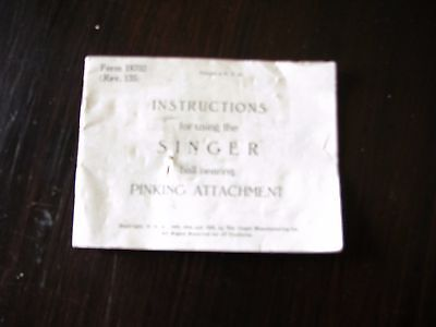 Antique Singer Sewing Machine Part Pinking Attachment Booklet