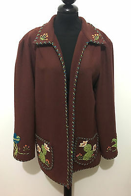 MEXICO VINTAGE '40 WWII Giacca Donna Lana Caban Old Woman Wool Jacket Sz.XL - 48