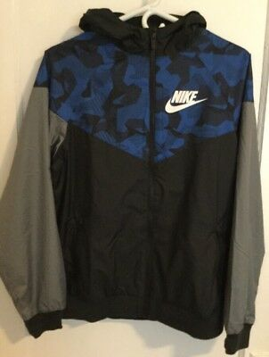 Nike Boys Youth Blue Windrunner Windbreaker Size XL 804931 011 Black Jacket Gray