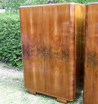 Pair of Art Deco Double Wardrobes. Walnut 1920s Antique Vintage Bedroom Suite.