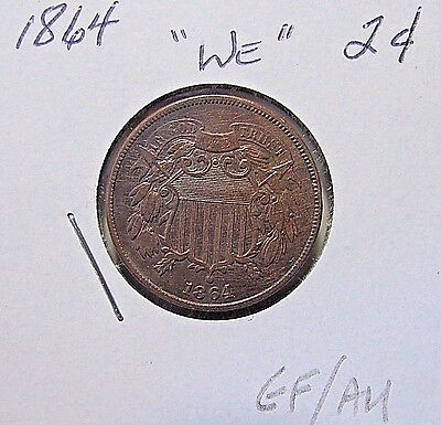 Sharp...1864 2 Cent Large Motto***Nice EF Or Better***Civil War Coin
