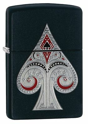 Zippo 29491, Ace of Spades-Emblem, Black Matte Lighter, Full Size