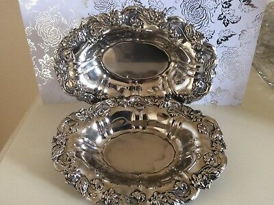 Vintage / Antique A Ornate Pair Of Oval Bowls
