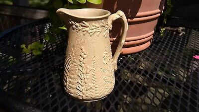 Antique Salt Glazed Stoneware Fern Pitcher Jug