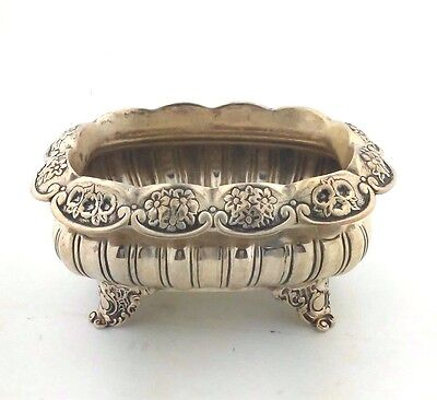 Small Sterling Silver Rectangular Footed Flower Detail Nut/Candy Bowl #2610