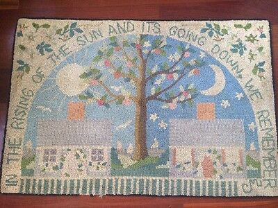 """SALE Claire Murray Rug Vintage 2 X 3 """"THE RISING OF THE SUN AND ITS GOING DOWN"""""""